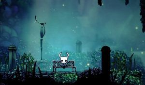 Hollow Knight sitting on a bench
